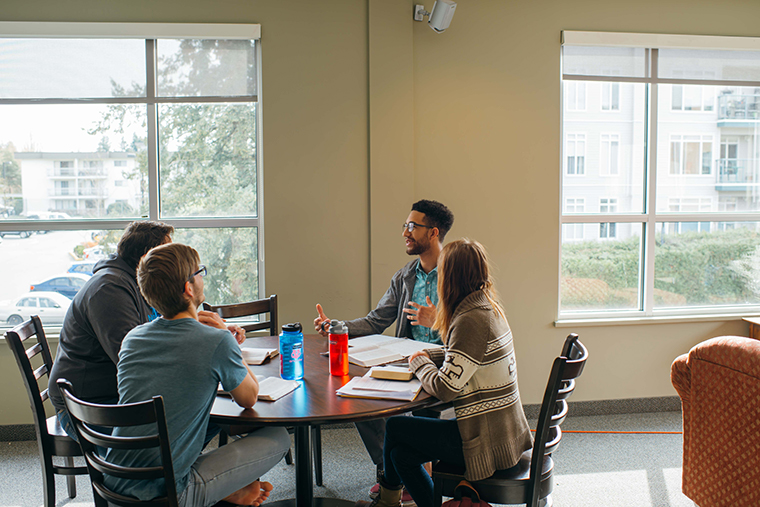 Columbia Students studying Bible together